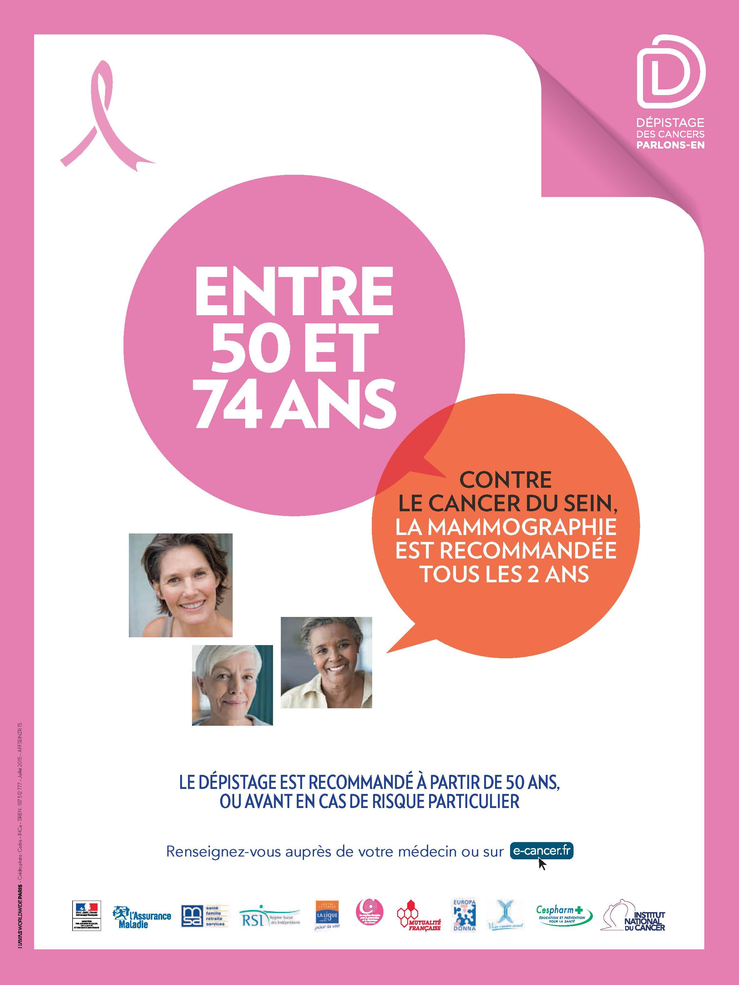 Dépistage du cancer du sein : Entre 50 et 74 ans