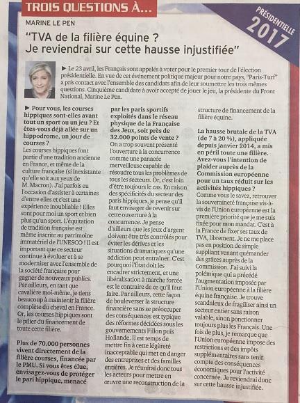 Marine Le Pen répond aux questions sur la filière Cheval